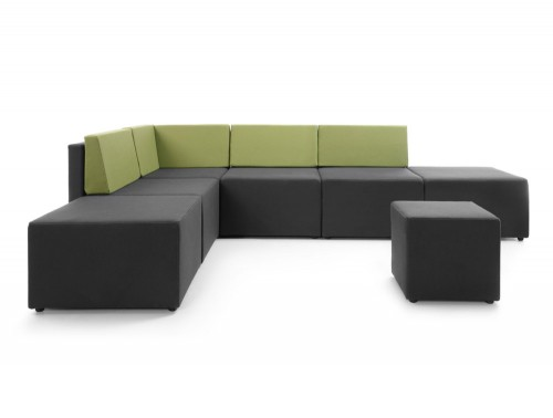 Lounge L Shape Low Back Sofa with Coloured Back Rest and Pouffe