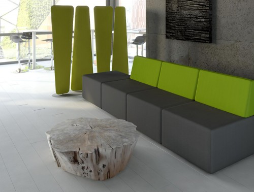 Lounge Low Back Sofa with Coffee Table and Acoustic Panels