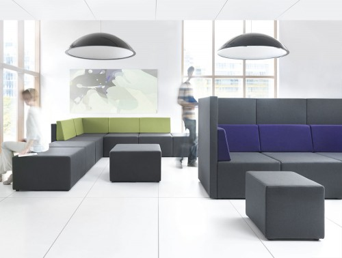 Lounge Modular Soft Seating with Grey Upholstered Finish and High Back