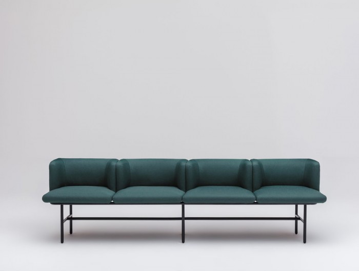 Agora Bench with Green Finish and Black Legs