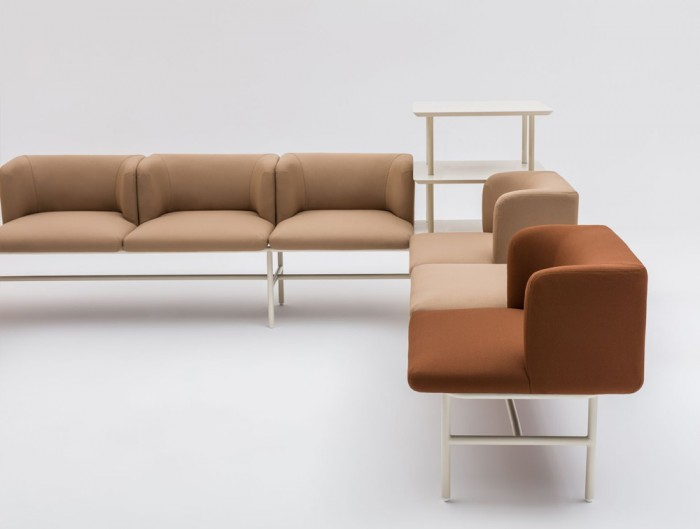 Agora Soft Seating with Beige and Brown Finish and Storage
