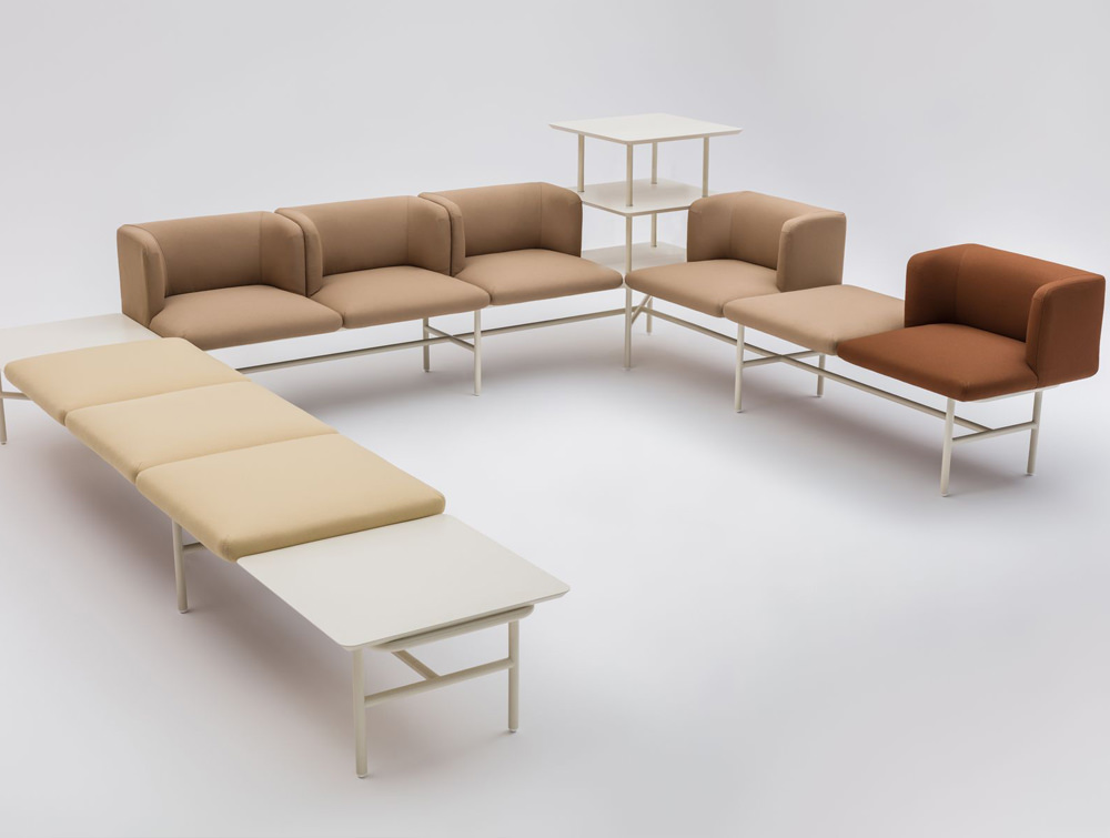 Agora Soft Seating with Beige and Brown Finish and White Legs