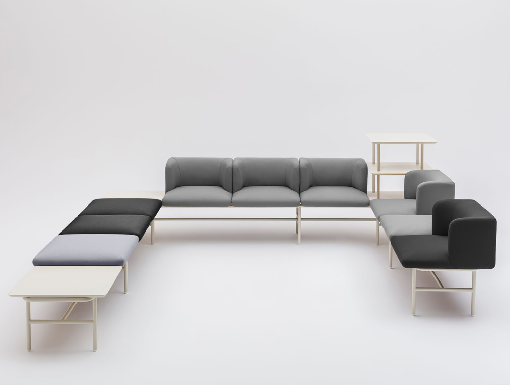 Agora Soft Seating with Grey and Black Finish and White Legs