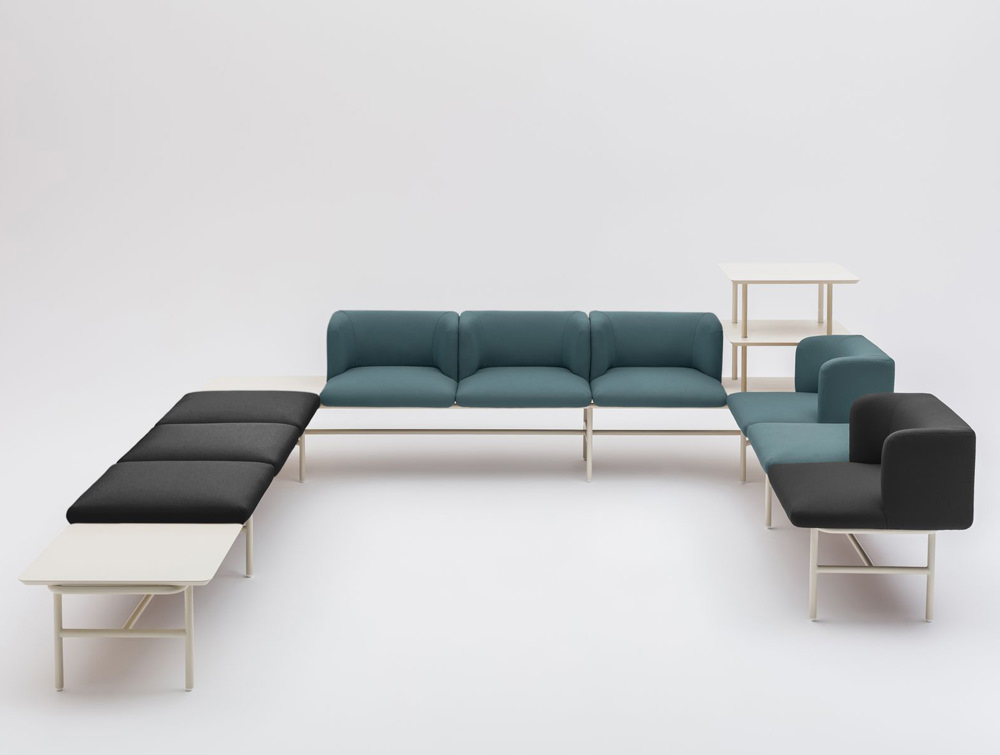 Agora Soft Seating with Turquoise and Black Finish and White Legs and Shelves