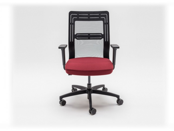 Tanya Mesh Conference Armchair with Black Back and Red Cushion