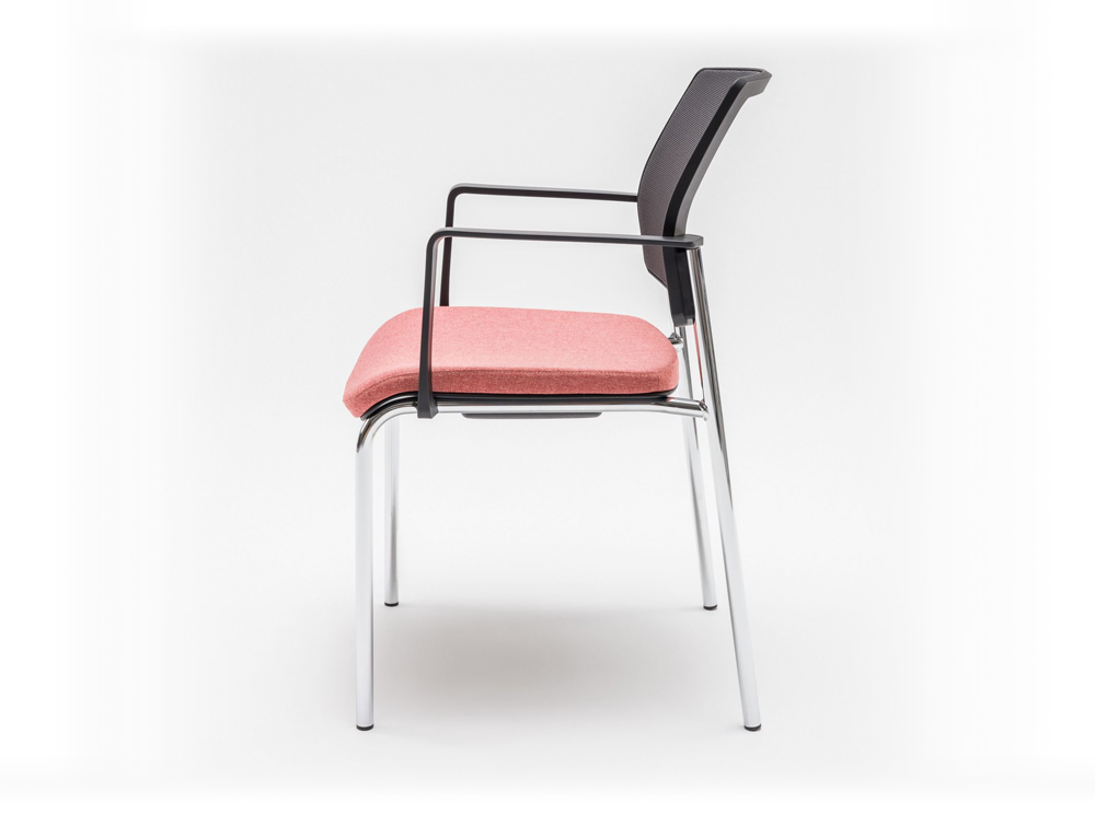 Gaya Mesh Conference Stackable Armchair with Black Back and Pink Cushion