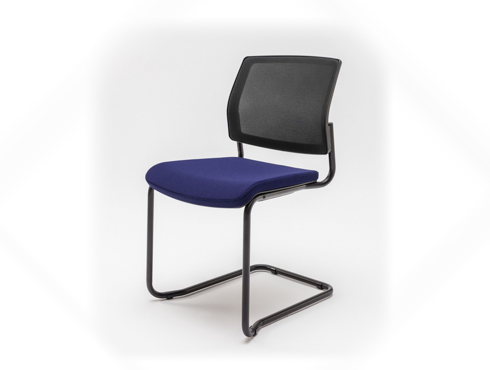 Gaya Mesh Conference Stackable Armchair with Black Legs and Purple Cushion