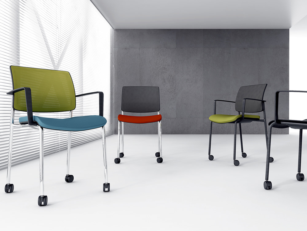 Gaya Mesh Conference Stackable Armchair with Chrome Legs and Castor Wheels