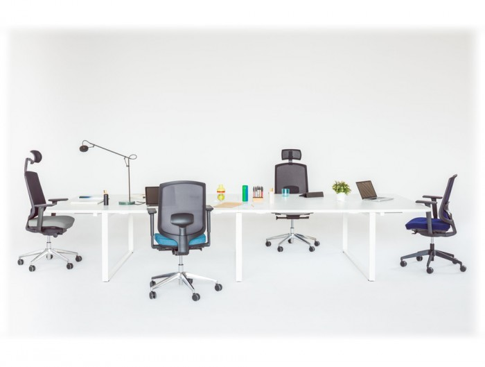 Sava Ergonomic Mesh Chair with Black Back and Computer