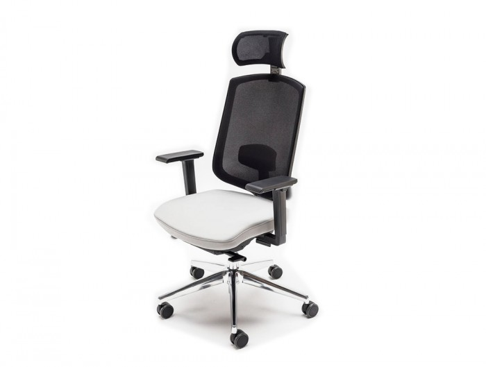 Sava Ergonomic Mesh Chair with Headrest and Light Grey Upholstered Finish