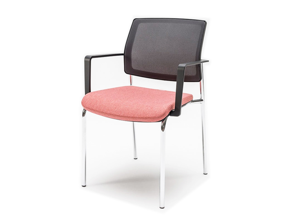 Gaya Mesh Conference Stackable Armchair with Black Arms and Chrome Legs