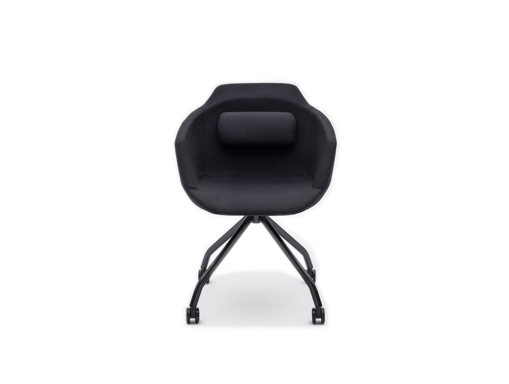 Ultra F Armchair with Black Upholstered Finish and Black Metal Base