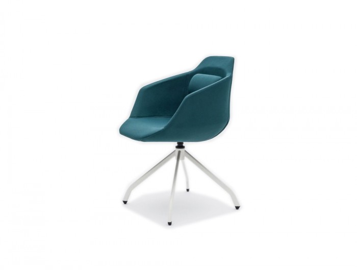 Ultra F Armchair with Blue Upholstered Finish and White Metal Base
