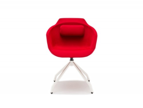 Ultra F Armchair with White Metal Base and Red Finish