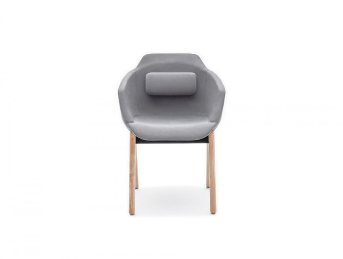 Ultra FW Armchair with Grey Cushion and Wooden Legs