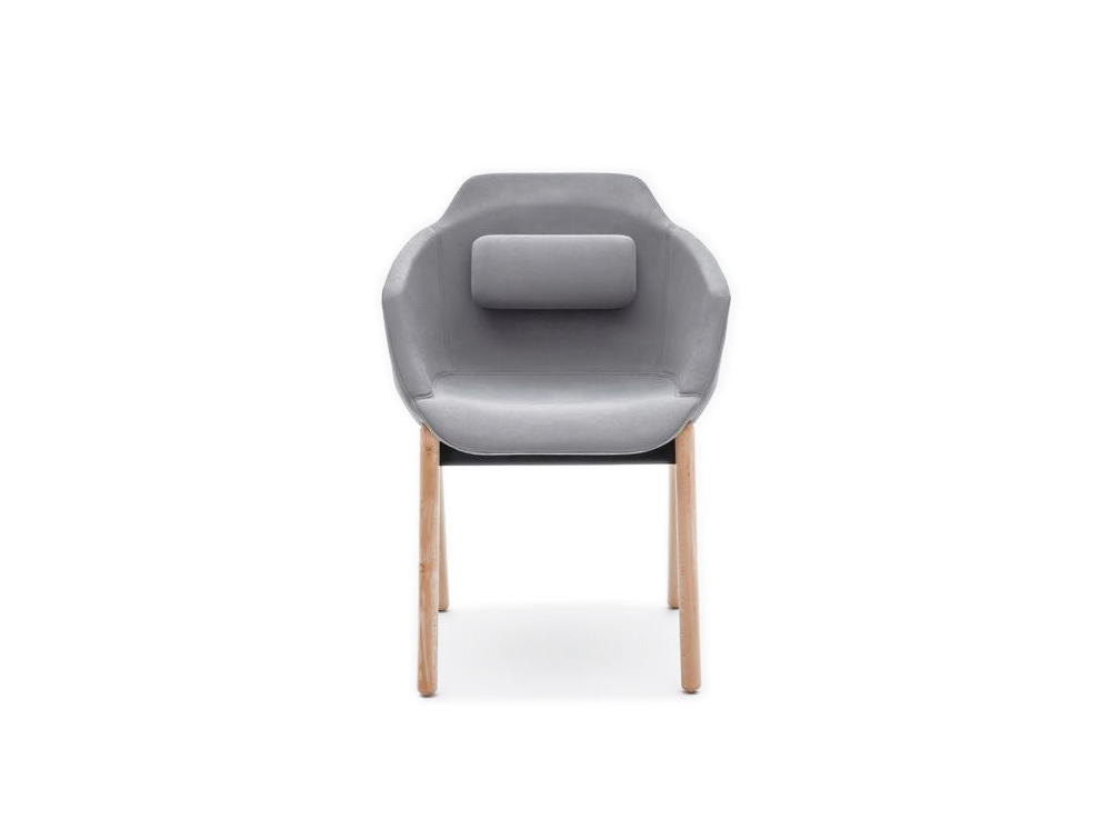 Ultra FW Armchair with Back Cushion and Wooden Base