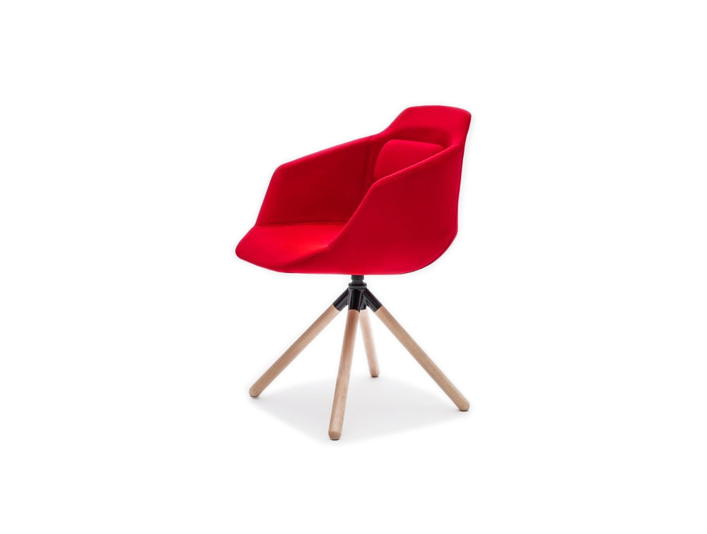 Ultra FW Armchair with Red Upholstered Finish and Four Legs Wooden Base