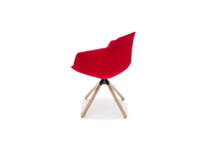 Ultra FW Armchair with Red Upholstered Finish and Wooden Legs