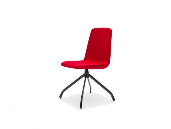 Ultra K Chair with Red Metal Base and Four Star Black Legs