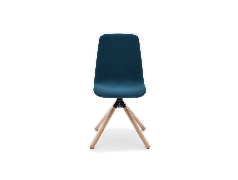 Ultra KW Chair with Deep Blue Finish and 4 Star Wooden Base