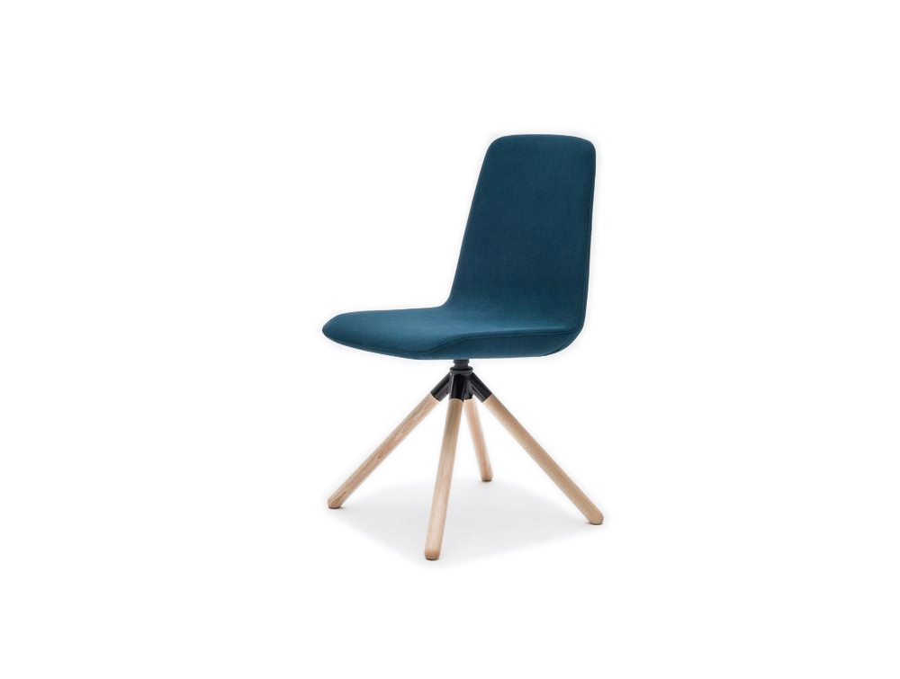 Ultra KW Chair with Four Star Wooden Legs and Coloured Finish