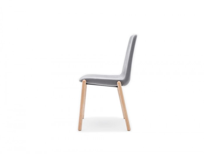 Ultra KW Chair with Grey Upholstered Finish and Four Wooden Legs