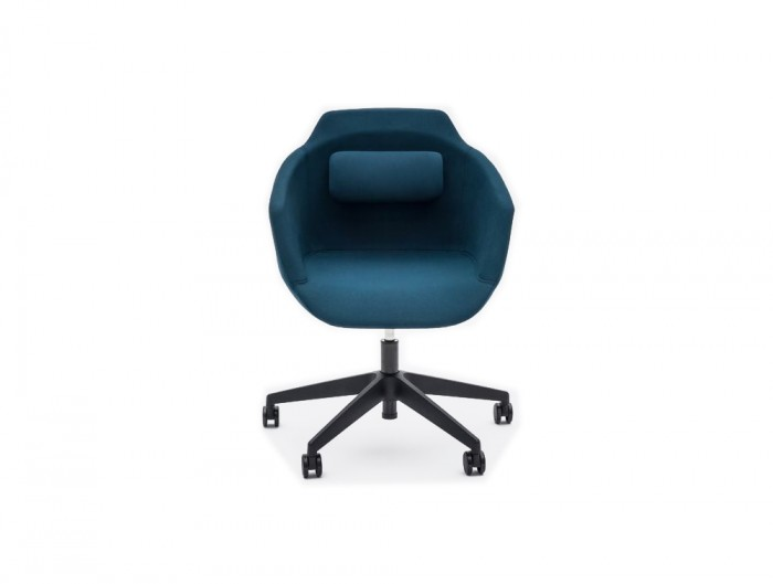 Ultra F Armchair with Blue Upholstered Finish and Black Castor Wheels