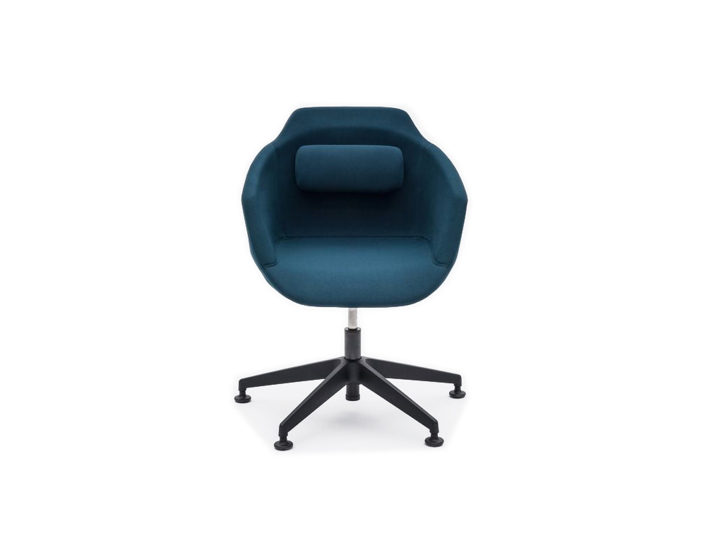 Ultra F Armchair with Blue Upholstered Finish and Black Metal Base