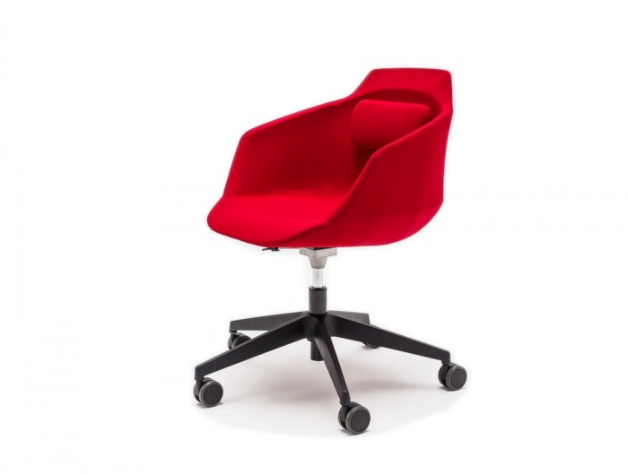 Ultra F Armchair with Castor Wheels and Red Finish
