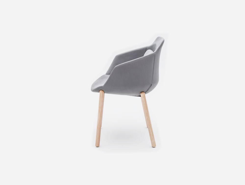 Ultra FW Armchair with Grey Upholstered Finish and Wooden Base