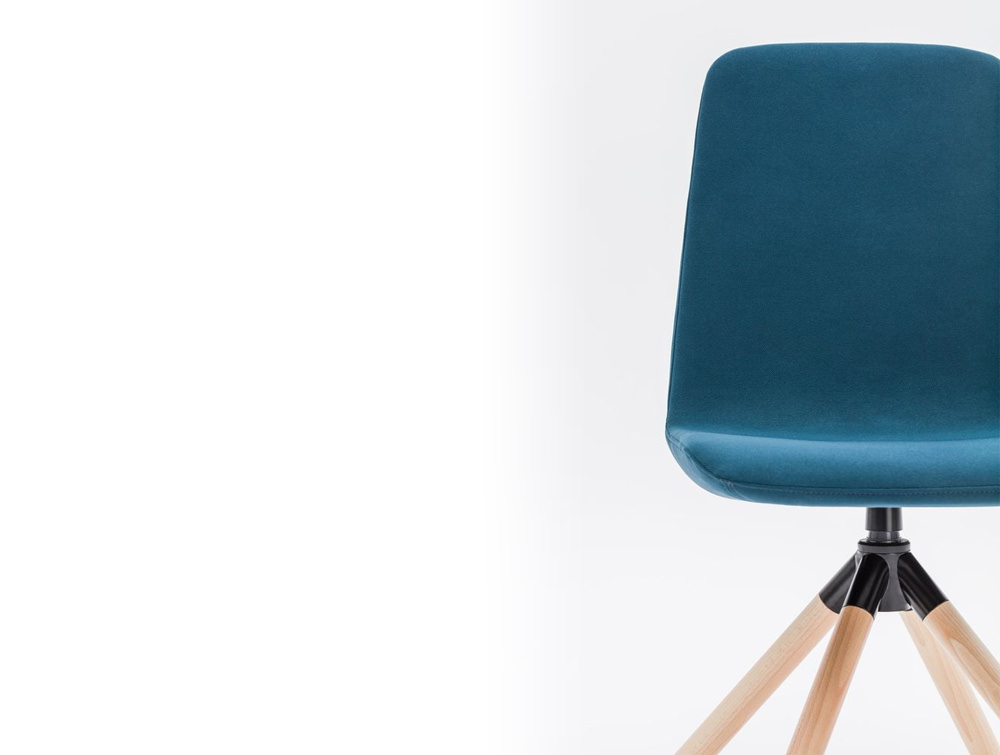 Ultra KW Chair with Blue Finish and Wooden Legs for Meeting Rooms