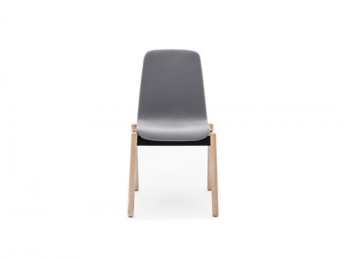 Ultra KW Chair with Grey Finish and 4 Legs Wooden Base