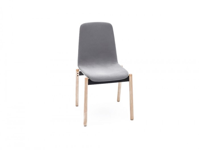 Ultra KW Chair with Grey Finish and Wooden Legs for Meeting Rooms