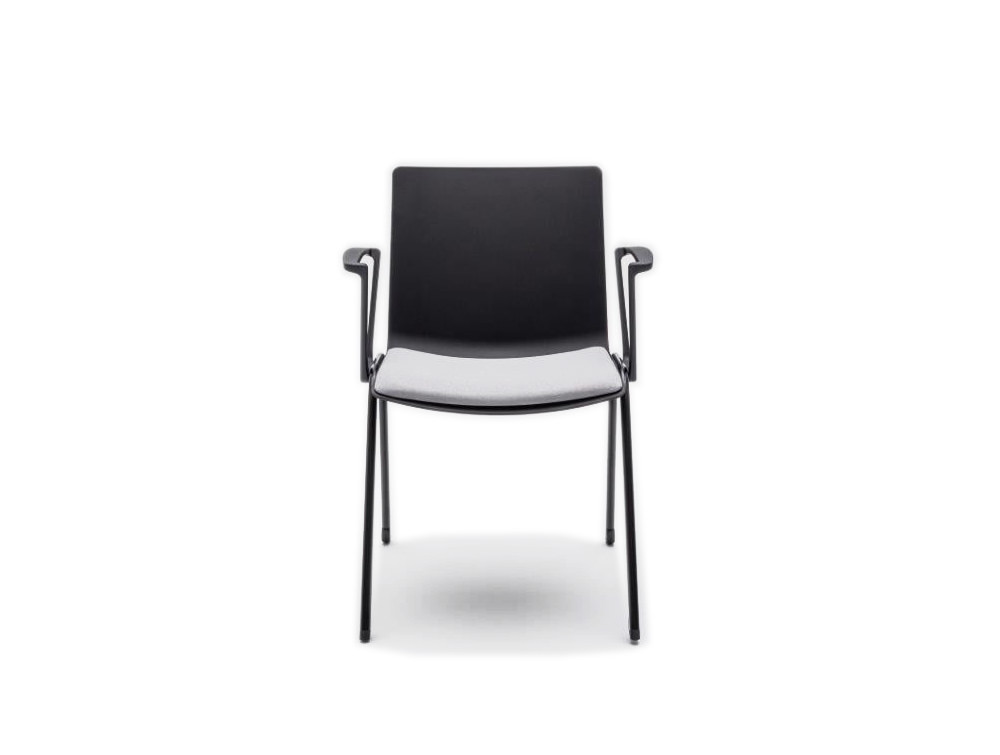 Shila A Frame Conference Chair on Castors with Black Armrest and White Seat Cushion