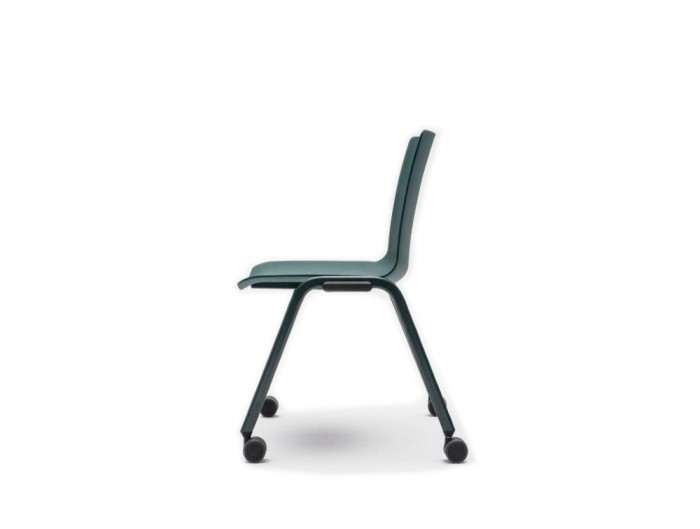 Shila A Frame Conference Chair on Castors with Black Base and Green Finish
