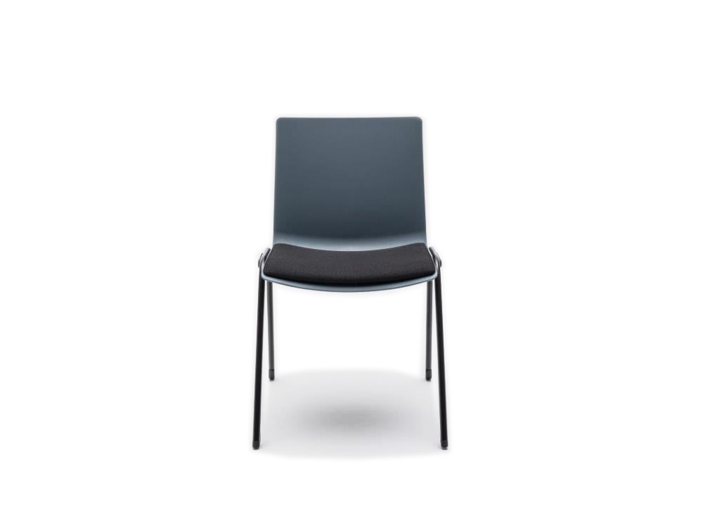Shila A Frame Conference Chair on Castors with Black Legs and Black Cushion