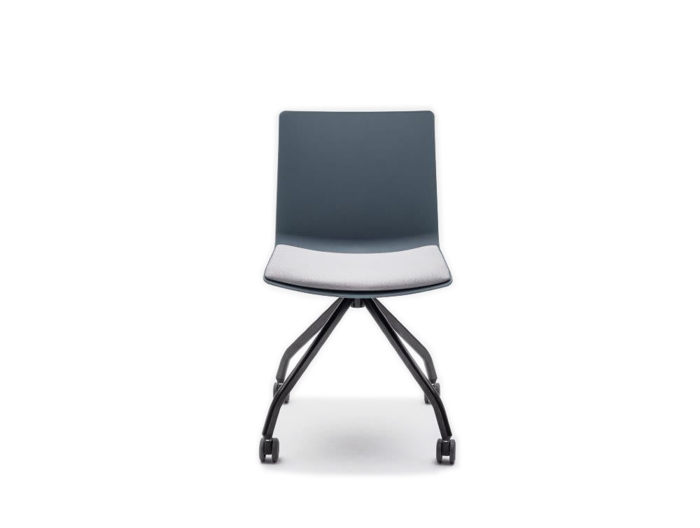 Shila A Frame Conference Chair on Castors with Black Legs and White Seat Cushion