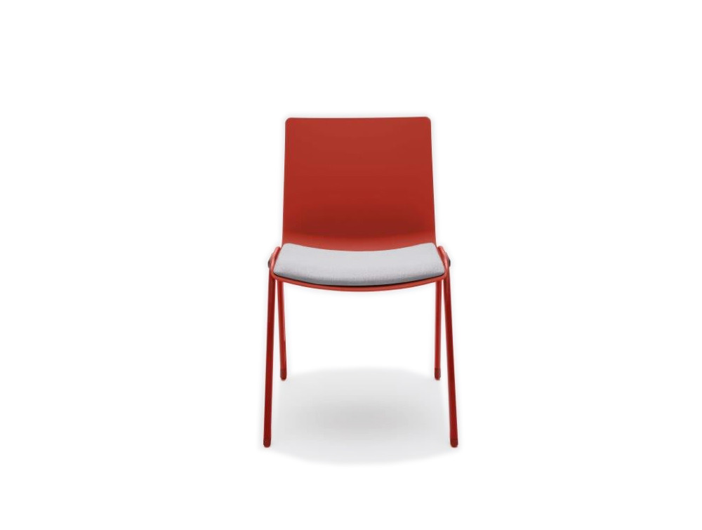 Shila A Frame Conference Chair on Castors with Red Finish and Seat Cushion