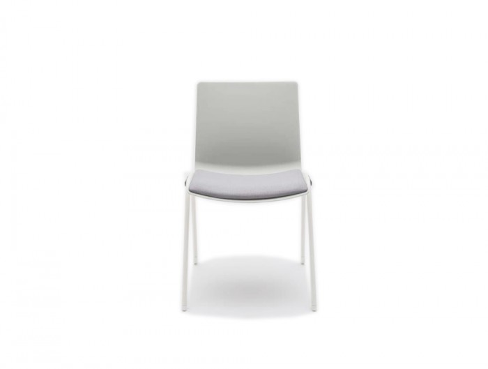 Shila A Frame Conference Chair on Castors with White Finish and Seat Cushion