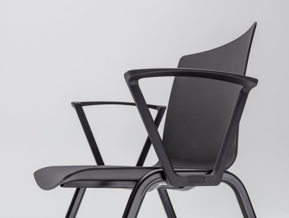 Shila A Frame Conference Chair with Armrest and Black Finish