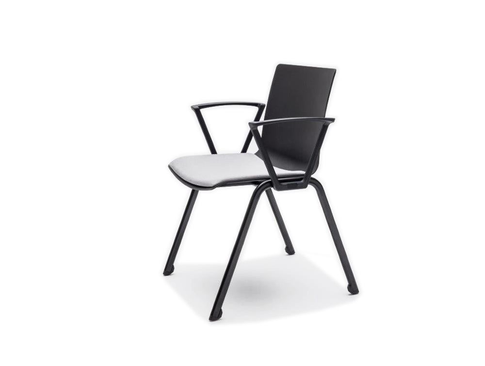 Shila A Frame Conference Chair with Armrest and White Cushion