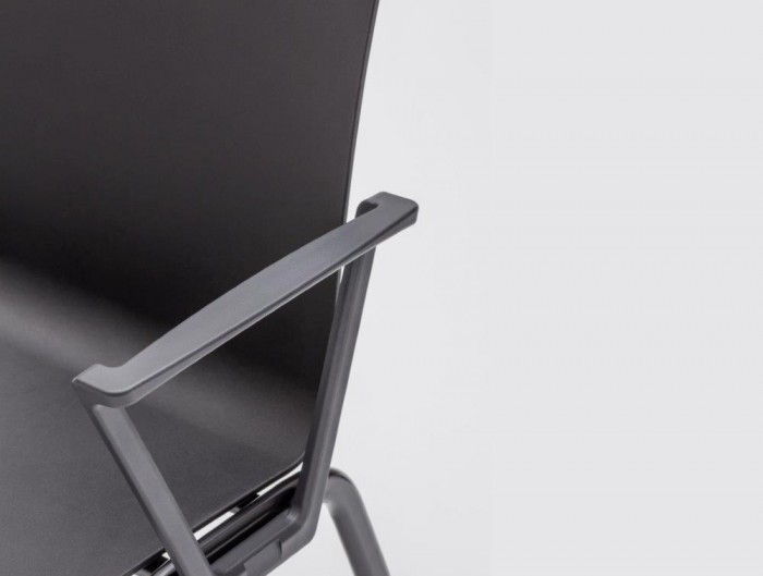 Shila A Frame Conference Chair with Black Finish and Black Arms