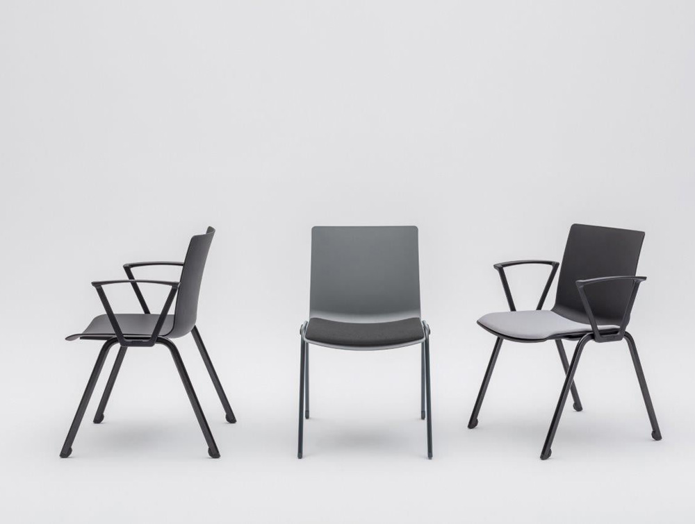 Shila A Frame Conference Chair with Grey Finish and Black Arms