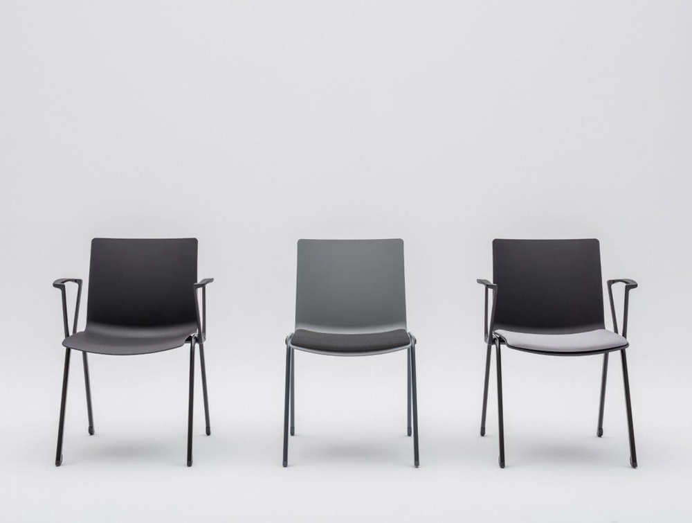 Shila A Frame Conference Chair with Grey Finish and Seat Cushion