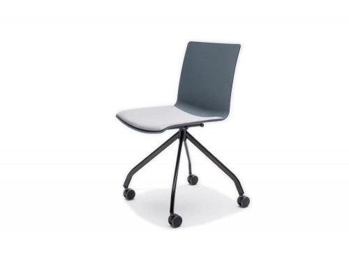 Shila Conference Chair with 4 Star Base on Castors with Black Base and Grey Cushion