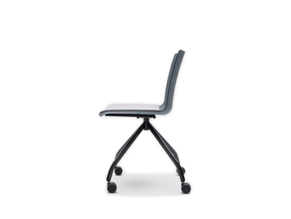 Shila Conference Chair with 4 Star Base on Castors with Black Base and Grey Finish