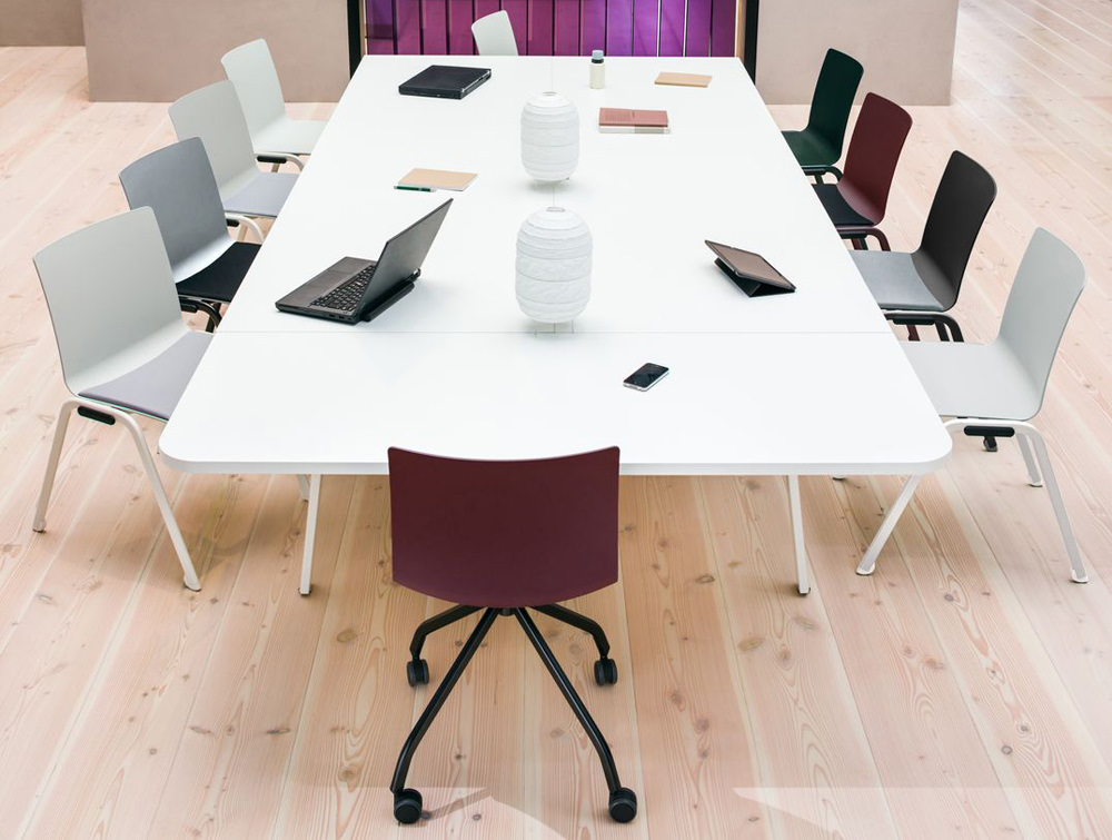 Shila Conference Chair with 4 Star Base on Castors with Black Base and Purple Finish for Meeting Rooms