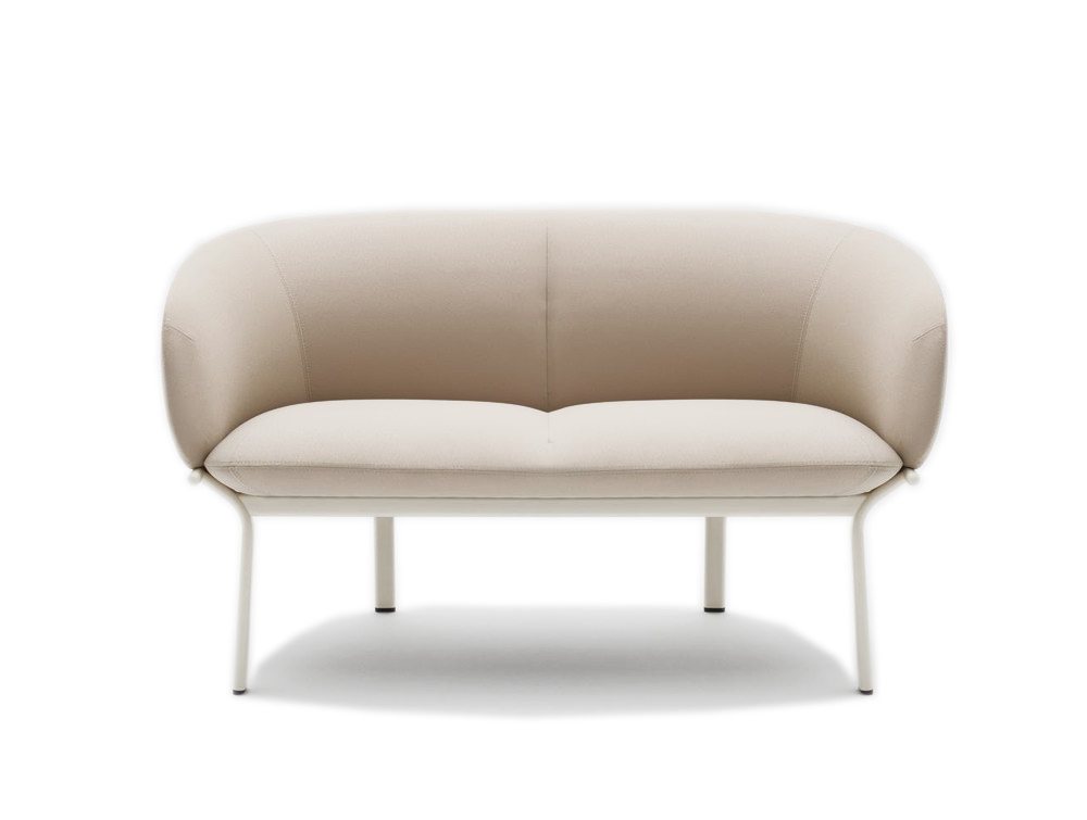 Grace 2 Seater Sofa on 4 Legged Base with White Finish and White Frame
