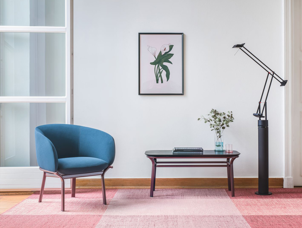 Grace Armchair on 4 Legged Base with Blue Finish and Purple Frame for Waiting Areas