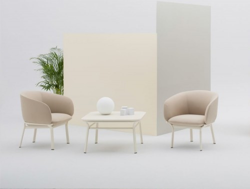 Grace Armchair on 4 Legged Base with Deep Foamed Cushion and White Finish for Reception Areas